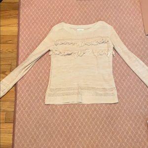 Baby pink fringe sweater